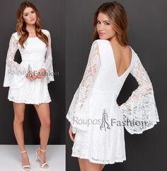 vestido branco para balada de renda