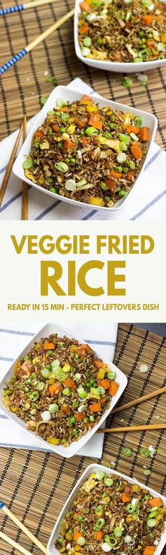 Vegetarian Fried Rice – This is how to use up leftovers! Ready in 12 mins - Vegetarian Fried Rice – one of the most delicious ways to use up leftovers! Vegetarian Fried Rice, Going Vegetarian, Vegetarian Dinners, Vegetarian Cooking, Vegetarian Recipes, Cooking Turkey, Vegan Food, Veg Recipes, Asian Recipes