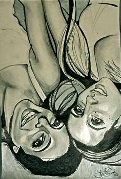 #graphite #mixedmedia #drawing #friends #beautifulwomen #artwork #coloredpencil