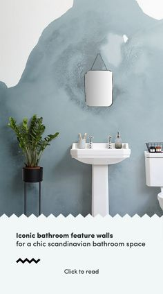 Create a Scandinavian bathroom feature wall with iconic feature wallpaper and elevate a Nordic inspired interior in your home. Scandinavian Wallpaper, Scandinavian Bathroom, Scandinavian Interiors, Scandi Home, Scandinavian Design, Bathroom Feature Wall, Feature Walls, Scandinavian Architecture, Small Bathtub