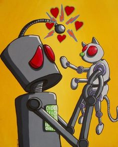 I love my robot cat - Robot and Pet Print - 11x14 Limited Edition | bestartstudios - Print on ArtFire