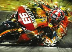 Marc Márquez on Honda Rc213V MotoGP 2013 - Painting,  2x30x40 cm ©2013 by Andrea Del Pesco -                        Contemporary painting