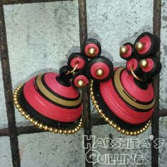 Magenta with black quilled jhumka - Quilled by Harshita :)