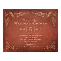 Wedding Shower Invitations | Vintage Vineyard Fall Theme in Rust Red and Champagne Gold