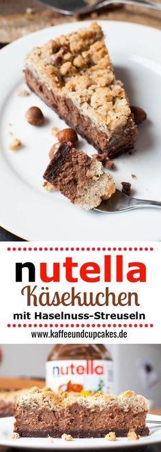 Nutella chocolate cheesecake with hazelnut sprinkles- Nutella-Schoko-Käsekuchen mit Haselnuss-Streuseln Nutella cheesecake with chocolate topping and hazelnut crumble topping - Nutella Cheesecake, Easy Cheesecake Recipes, Easy Cake Recipes, Sweet Recipes, Baking Recipes, Cookie Recipes, Dessert Recipes, Classic Cheesecake, Bread Recipes
