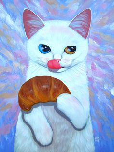 Cat with croissant illustration by Cary Chun Lee