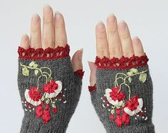 Hand Knitted Fingerless Gloves Gloves & от nbGlovesAndMittens