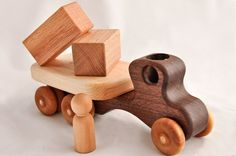Wooden Toy Flatbed Truck Organic Walnut & Maple With All Natural Finish