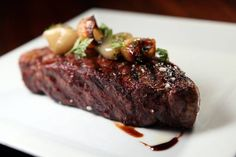 Indulge on this prime, 16-ounce New York strip steak with shallot and balsamic reduction.. prepared just for you at Ser Steakhouse located in the Hilton Anatole #DFW. http://sersteak.com/ #meateater