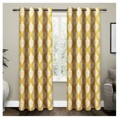 Add chic style to your space with the Medallion Grommet Top Room Darkening Window Curtain Panel Pair. Showcases an allover medallion pattern in an array of fashionable colors, the room darkening panels instantly gives your room a modern update. Thermal Curtains, Grommet Curtains, Blackout Curtains, Drapes Curtains, Pattern Curtains, Yellow Curtains, Curtains Living, Room Darkening, Curtain Rods