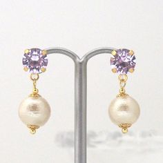 MiyabiGrace: Violet Swarovski Crystals and Light Beige Cotton Pearl Invisible Clip on Earrings #コットンパールイヤリング #コットンパールノンホールピアス #cottonpearl #CottonPearlEarrings #PearlClipOnEarrings #CottonPearlClipOnEarrings #InvisibleClipEarrings #ClipOnEarrings #SwarovskiClipOnEarrings #WeddingPearlClipOnEarrings  #LightBeigePearlClipOnEarrings #VioletSwarovskiClipOnEarrings #PearlNonPiercedEarrings #NonPieredEarrings #PearlEarrings #LightPurpleSwarovskiCliponEarrings #コットンパール #スワロフスキーイヤリング