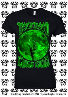 Ladies Fit Wolf Moon T-shirt in Black Sizes Small to 2XLarge by Plundering Productions #Etsy #Gith #Gothic #HeavyMetal #Punk #Witch #Pagan #Occult