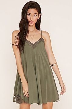 Lace-Trimmed Cami Dress