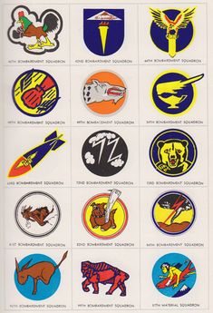 WWII U.S. Army Air Force squadron logos from a 1943 Army Officers Manual.