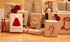 using yarn to embellish a wrapped present