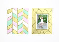 DIY Gold Textured Canvas - Finished herringbone artwork and faux frame