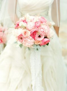 Shades of pink #wedding #flowers ... For a Wedding Bouquet Guide ... https://itunes.apple.com/us/app/the-gold-wedding-planner/id498112599?ls=1=8  ... The Gold Wedding Planner iPhone App.