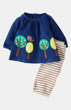 this mini boden appliqué shirt and leggings are perfect for the little girl on the go.