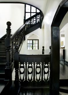 {Villa} Black staircase #villa #home #stairs