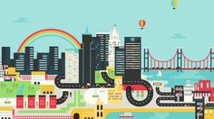 fluid animations, animated illustration, city context, nice transitions