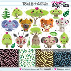 Animal Clipart, Animal Graphics, COMMERCIAL USE, Kawaii Clipart, Jungle Clipart, Jungle Graphic, Planner Accessories, Zoo Clipart, Zoo Party