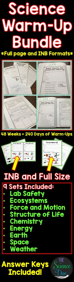 Science Warm-Up Bundle. 48 complete weeks (240 days) of Science Warm-Ups with answer keys included.