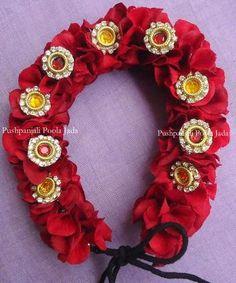 Artificial gajra or veni made with artificial petals and kundan applique