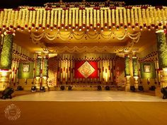 Check out Eleven Unique Wedding & Reception Stage Decoration Inspiration, Just For You! Wedding Reception Entrance, Wedding Hall Decorations, Marriage Decoration, Wedding Mandap, Backdrop Decorations, Background Decoration, Desi Wedding, Garland Wedding, Wedding Ceremony