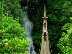 Thrill-seeking kayakers negotiate a perilous suspension bridge soaring over Costa Rica's Savegre River, near Manuel Antonio National Park. Snaking through a lush rain forest filled with tropical birds and pristine waterfalls, the Savegre is a spectacular stretch of coastal white water.