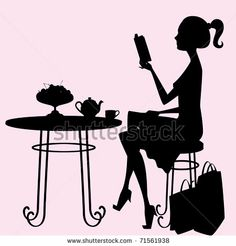 drink tea and read books  | female silhouette sitting at a table, drinking tea and reading a book ...