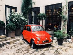 Red Fiat in Paris / photo by Jenny Hulme