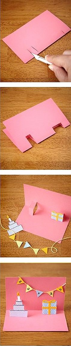 Pop Up Card:  Every kid should learn this trick.  I'm so disappointed my parents didn't have pinterest! ;)