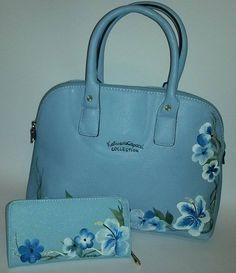 coordinato borsa dipinta a mano Regina di fiori e portafogli dipinto