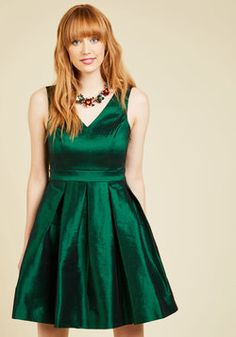 My Gift to You Fit and Flare Dress in Emerald