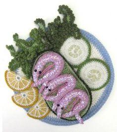 Kate Jenkins  Avo-crochet Prawns  Crocheted lambs wool, 2010  23.5 x 23.5 cm (9.3 x 9.3 ins)