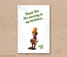 "Theater birthday thank you card, cinema favor card, theatre birthday party,cinema birthday thank you  - PRINTABLE 4""x6"", kids thank you"