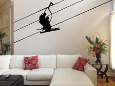 Ski Lift With Skiers, Cable, Chair And Seats Vinyl Design, Asian Art -vinyl…