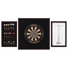 "Viper Championship Backboard Set by Viper. $109.55. The Championsip Backboard Set protects surrounding wall from dents and marks caused by stray darts.  Convenient side panel holds four complete sets of darts and accessories.  Accessories include dry erase marker and mounting hardware, DARTBOARD, DARTS AND FLIGHTS NOT INCLUDED  Backboard dimensions:  29""H X 29"" W x 1""D, Side Panel Dimesions:  23 1/2""H x 14 1/4"" W x 1""D  Weight 20lbs. Save 27%!"