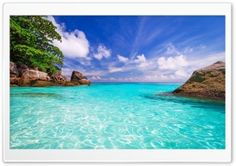 Exotic Places Beautiful Beaches Coast Rocks Trees Blue Ocean Transparent Water White With White Clouds Computer Summer Wallpapers Hd Wallpaper Praia, Et Wallpaper, Nature Desktop Wallpaper, Wallpaper Fofos, Ocean Wallpaper, Summer Wallpaper, Beautiful Nature Wallpaper, Landscape Wallpaper, Hd Desktop