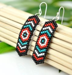 Salish Native American inspired beaded feather earrings by Lost Aloha, $24.00 © 2013 Sydney Alfano, Lost Aloha