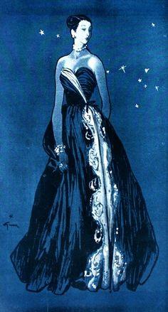 Femina (Noël) January 1947  Pierre Balmain, illustration by Rene Gruau | The House of Beccaria