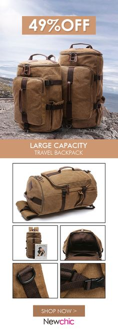 US$39.53 Canvas Multi-functional Large Capacity Travel Outdoor Backpack For Men#bags #travelblog #backpacking