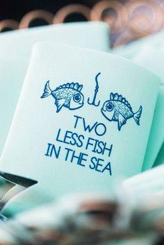 cute fish koozie beach wedding favor ideas  | Wedding | Beach Wedding | Beach Wedding Ideas | Bride | Groom | Wedding Photography | #weddings #beach #beachwedding #weddinginspiration #weddingphotography | www.laurenlashdesigns.com