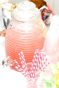 Cargile Family Favorite Recipes: Cherry Limeade Pink Punch Recipes, Drink Dispenser, Glass Dispenser, Pink Drinks, Cold Drinks, Beverages, Yummy Drinks, Refreshing Drinks, Non Alcoholic Drinks