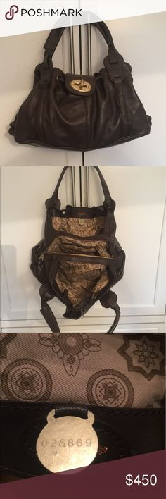 """Authentic Mulberry """"Agyness"""" Bag Leather in chocolate color with gold accents. Lots of space with 3 separate compartments, zipper closure. Great preloved condition. Mulberry Bags Satchels"""