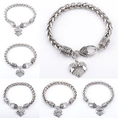 14 Styles To Choosse Fashion Simple Classic Best Friends Gift Alloy Hot Family Members Full Crystal Jewelry Peach Heart Bracelet