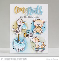 Stamps: Hello, Little One Die-namics: Hello, Little One, Congrats, Stencil: Basic Shapes - Circles Melania Deasy #mftstamps