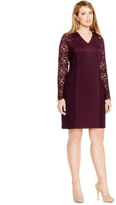 b45ba5ef562 Calvin Klein Plus Size Lace-Combo Sheath Dress Women - Dresses - Macy s