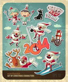 Personajes de dibujos animados de Navidad clip de material de vectores de arte