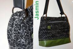 Jasmin hat Wollbouclé verarbeitet und einen grünen Kunstlederboden dazu kombiniert.